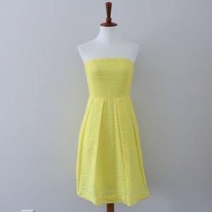 J. Crew Strapless Lemon Yellow Lorelei Dress Sz 4P